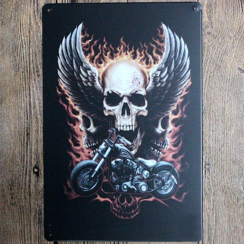 SKull and Mike Metal Tin Sign Poster