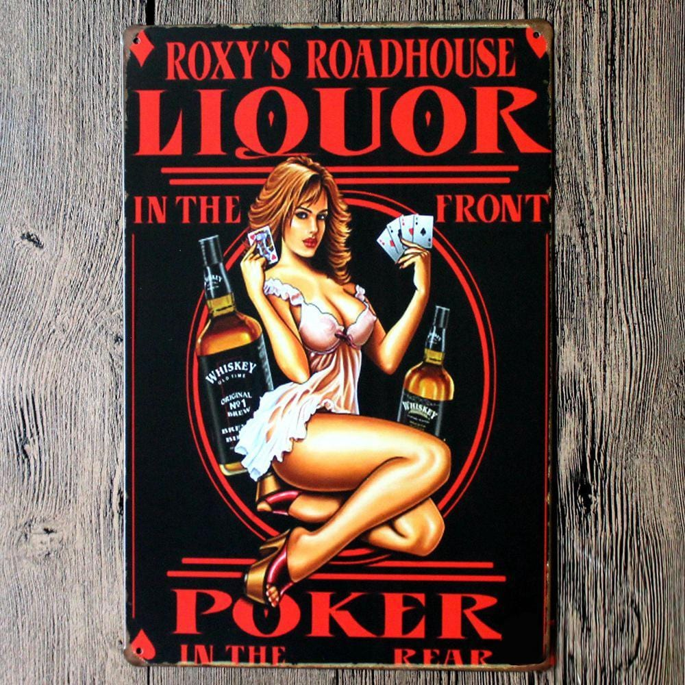 Liquor up Front Poker in Rear Metal Tin Sign Poster