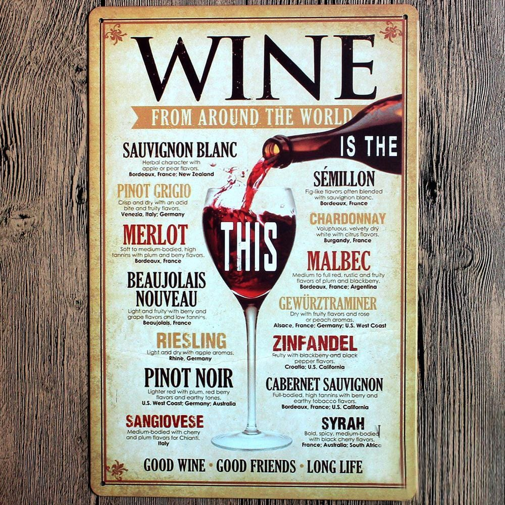 Wine From Around The World Retro Metal Tin Sign