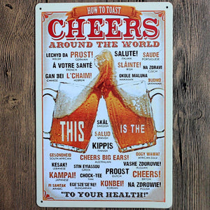 Cheers around the world Metal Tin Sign poster