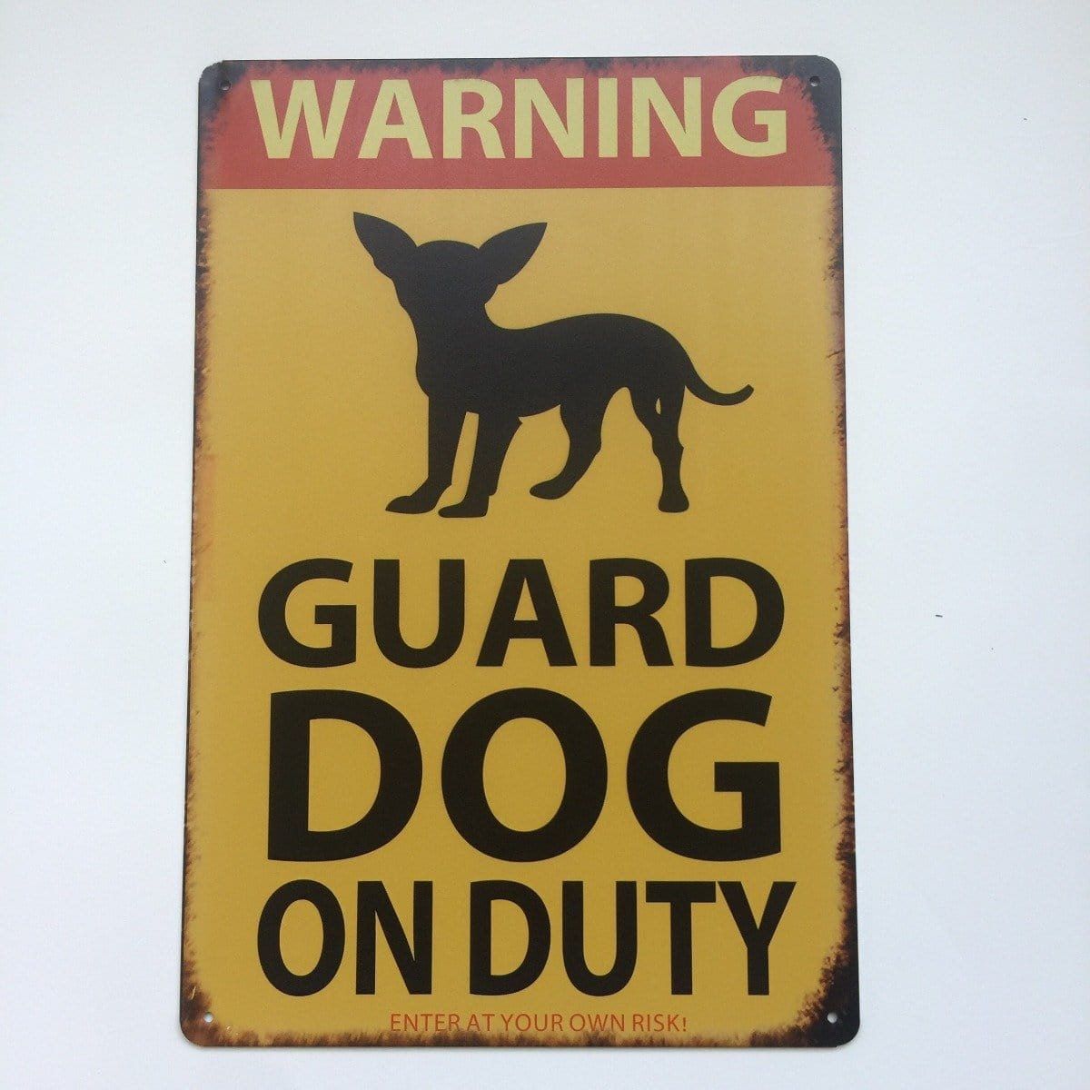 Dog Guard On Duty Metal Tin Sign Poster