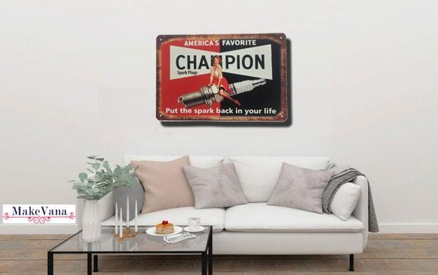Champion Spark Plug Metal Tin Sign Poster
