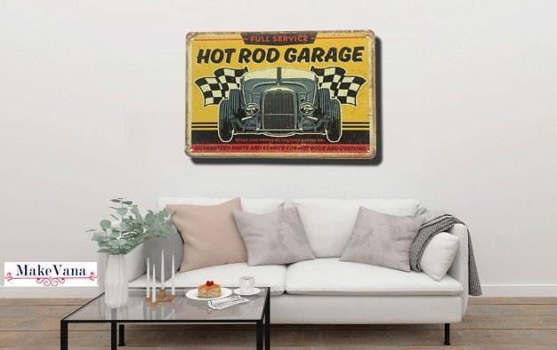 Hot Rod Garage Metal Tin Poster
