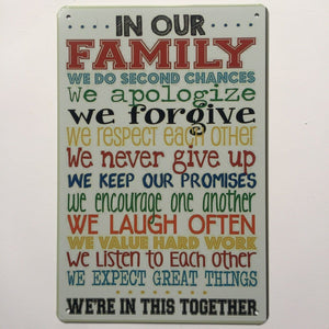 Family Quote Metal Tin Sign Poster