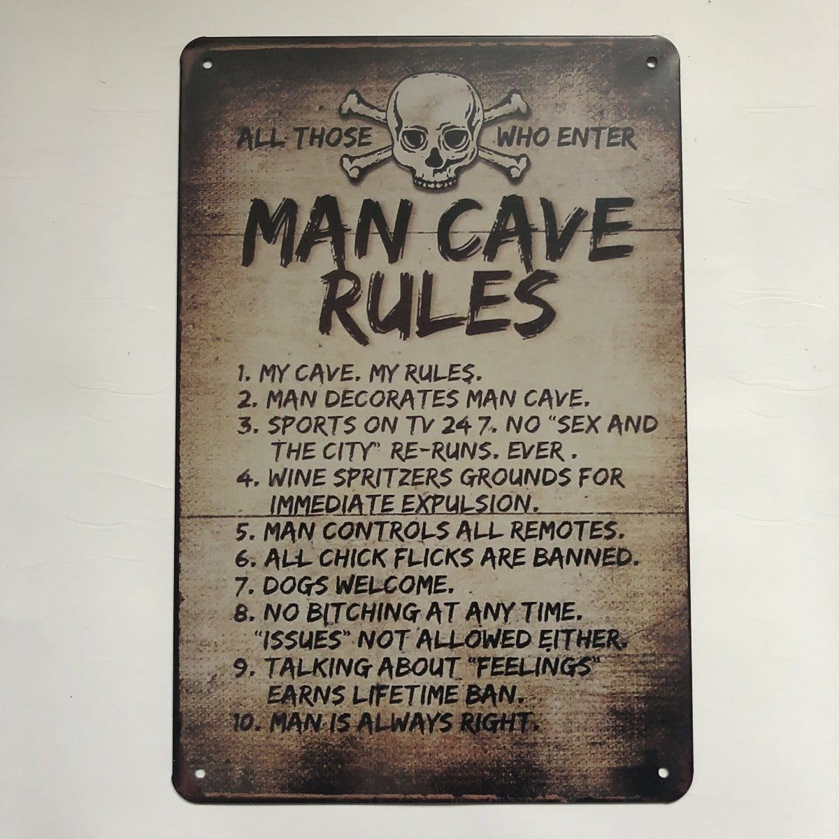 Man Cave Rules Plaque Metal Tin Sign Poster