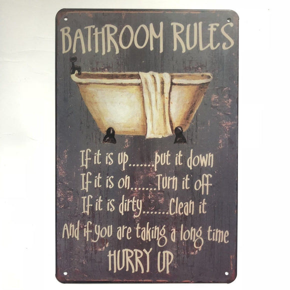Bathroom Rules Metal Tin SIgn Poster