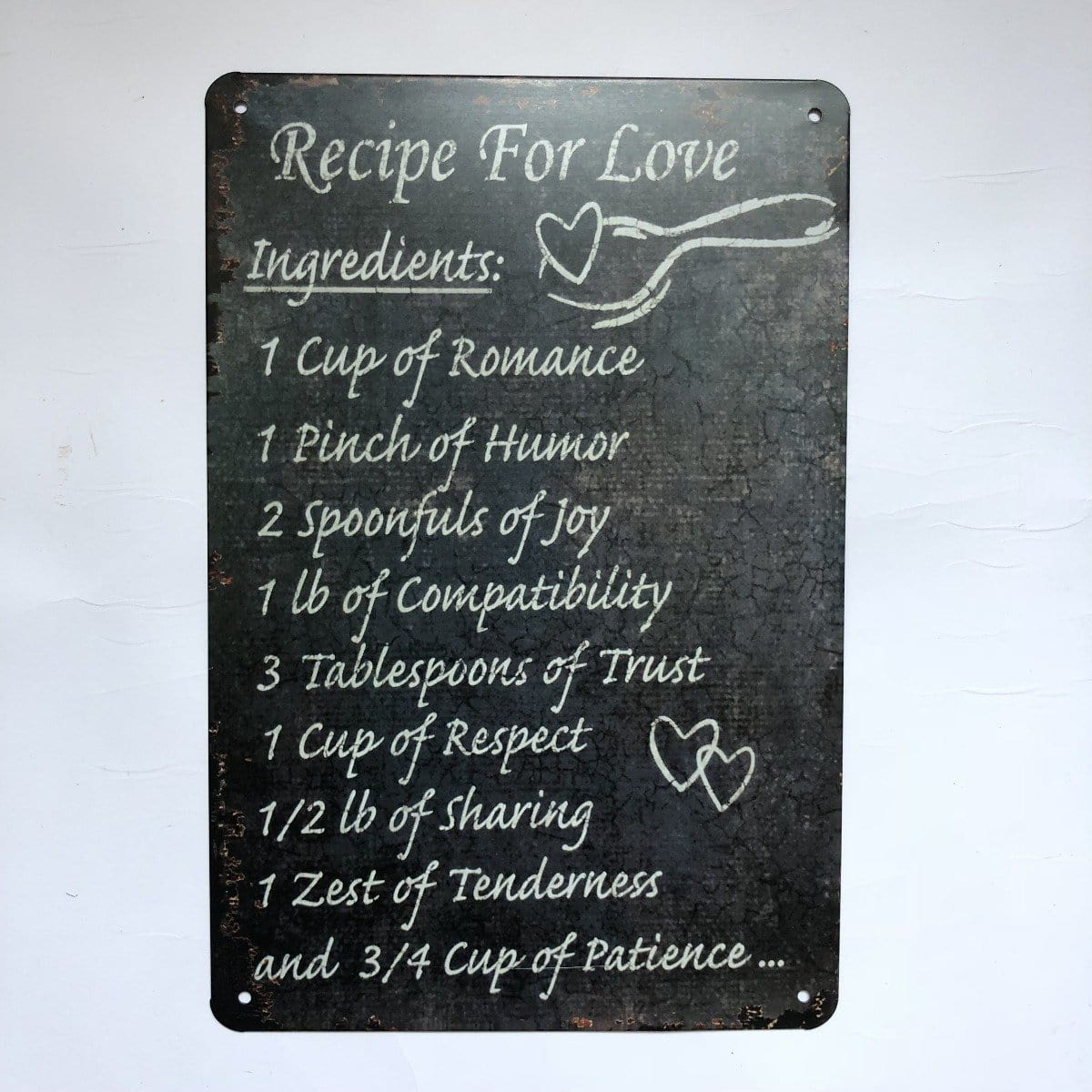 Recipe For Love Quote Metal Tin Poster