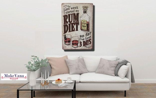 Rum Quote vintage Art Metal Poster