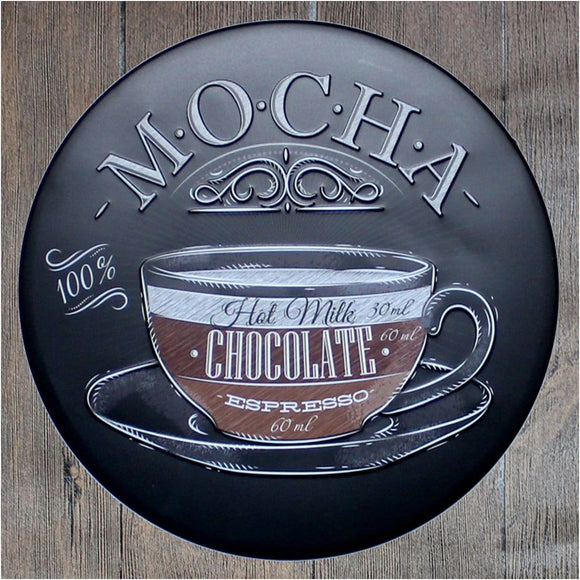 Mocha Chocolate Round Metal Tin Sign Poster
