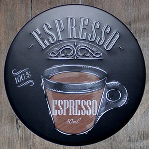 Expresso Round Metal Tin Sign Poster