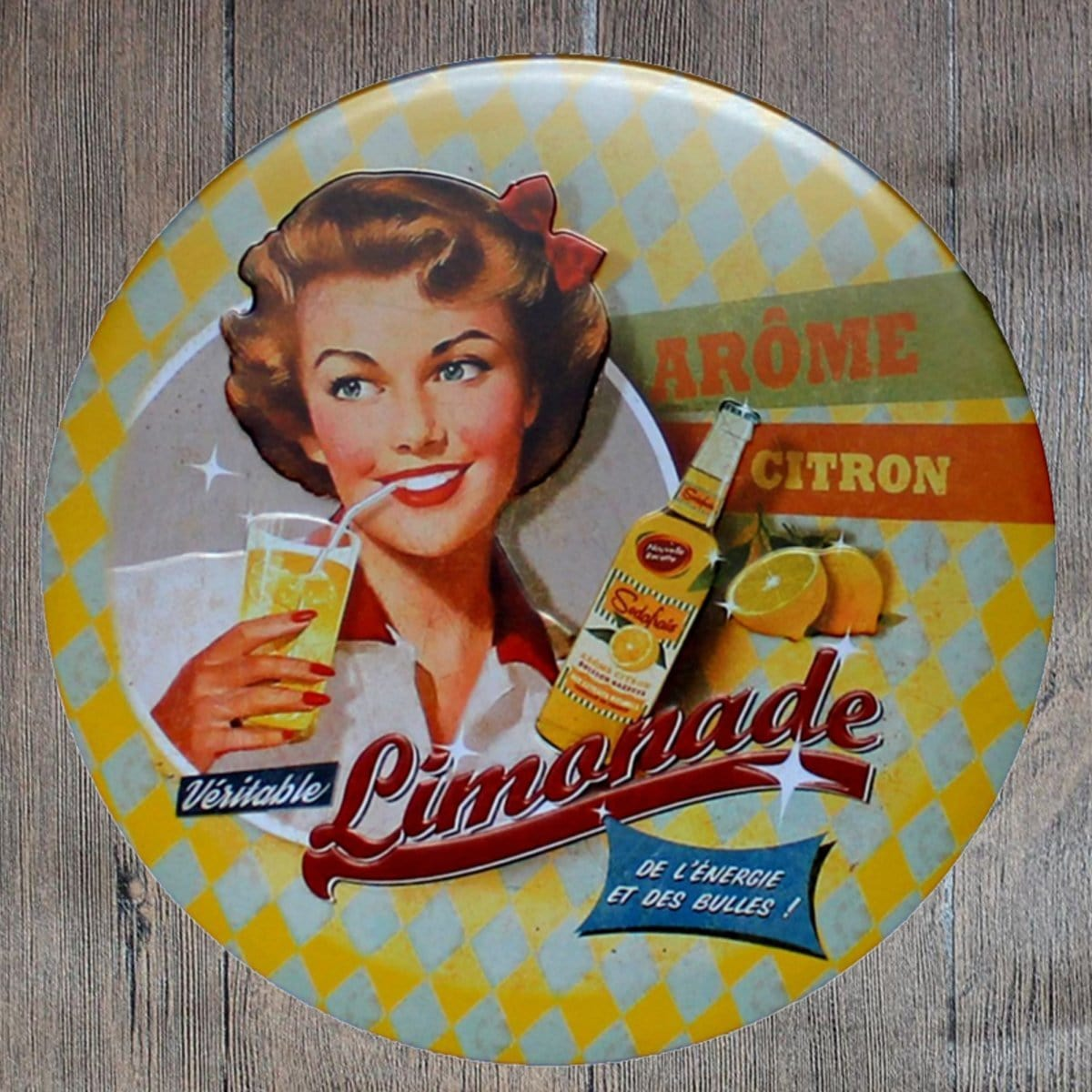 Limonade Round Embossed Metal Tin Sign Poster