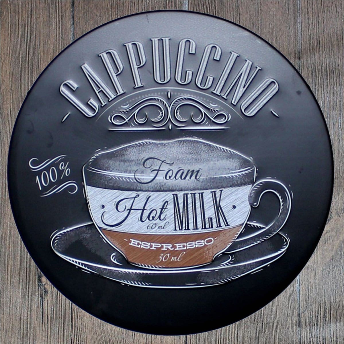 Cappuccino Round Embossed Metal Tin Sign Poster