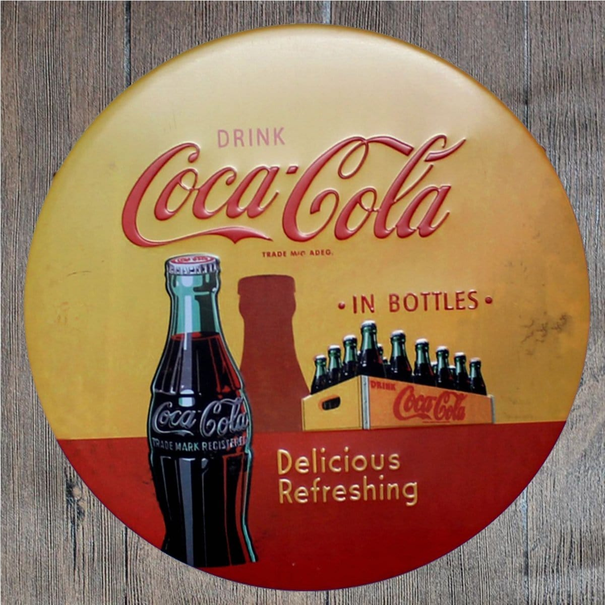 Drink Coca Cola in Bottles Round Embossed Metal Tin Sign Poster