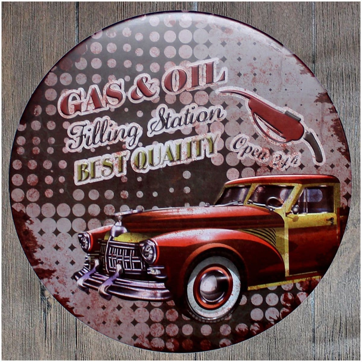 Gas & Oil Filling Round Embossed Metal Tin Sign Poster
