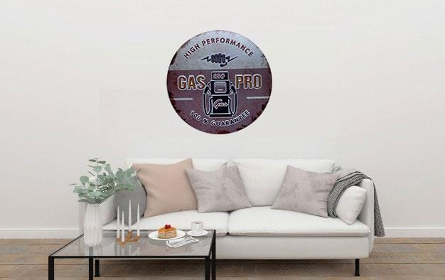 Gas Pro Round Embossed Metal Tin Sign Poster