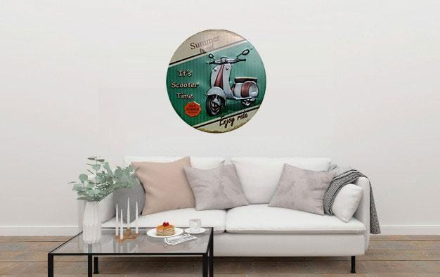 Its Scooter Time Round Embossed Metal Tin Sign Poster