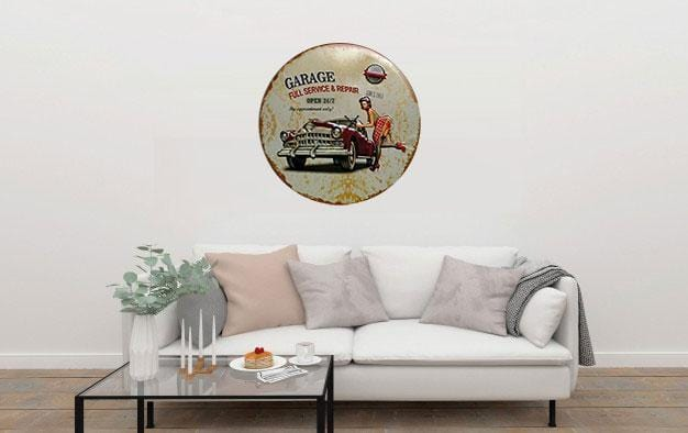 Garage Full Service & Repair Round Embossed Metal Tin Sign Poster