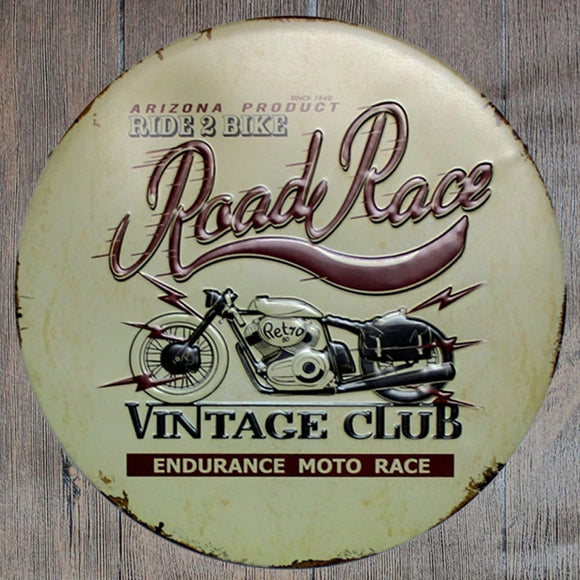 Road Race Round Metal Tin Sign Poster