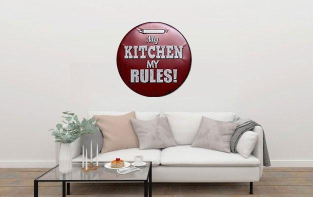 My Kitchen My Rules Round Embossed Metal Tin Sign Poster