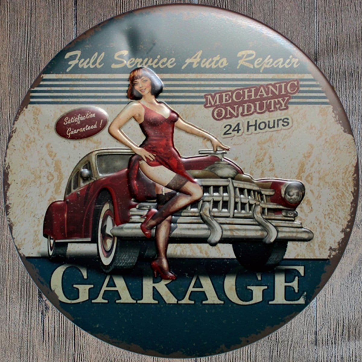 Garage Mechanic On Duty Round Embossed Metal Tin Sign Poster