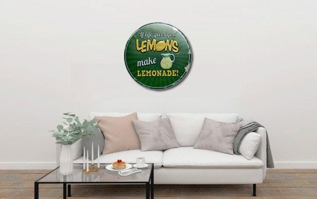 If Life Gives You Lemons Round Embossed Metal Tin Sign Poster