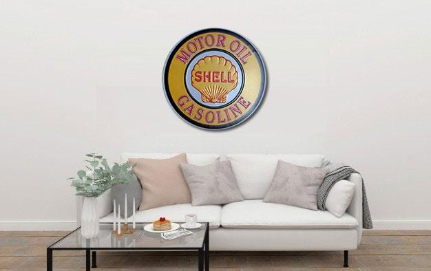 Shell Motor Oil Round Embossed Metal Tin Sign Poster