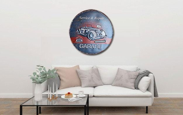 Garage Service & Repair Round Embossed Metal Tin Sign Poster