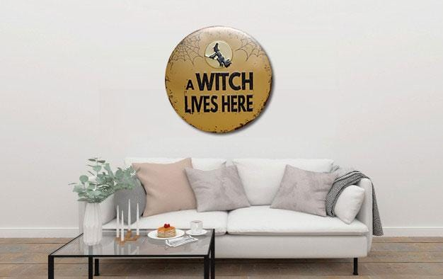 A Witch Lives Here Round Metal Tin Sign Poster