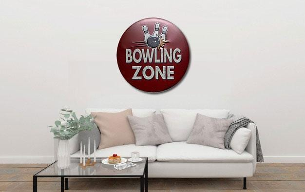 Bowling Zone Round Embossed Metal Tin Sign Poster