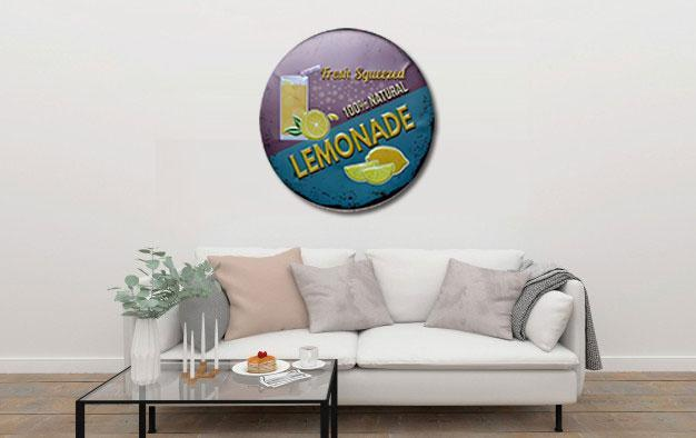 Fresh Squeezed Lemonade Round Embossed Metal Tin Sign Poster