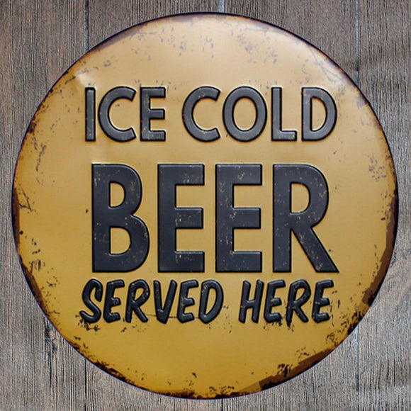 Ice Cold Beer Served Here Round Metal Tin Sign Poster