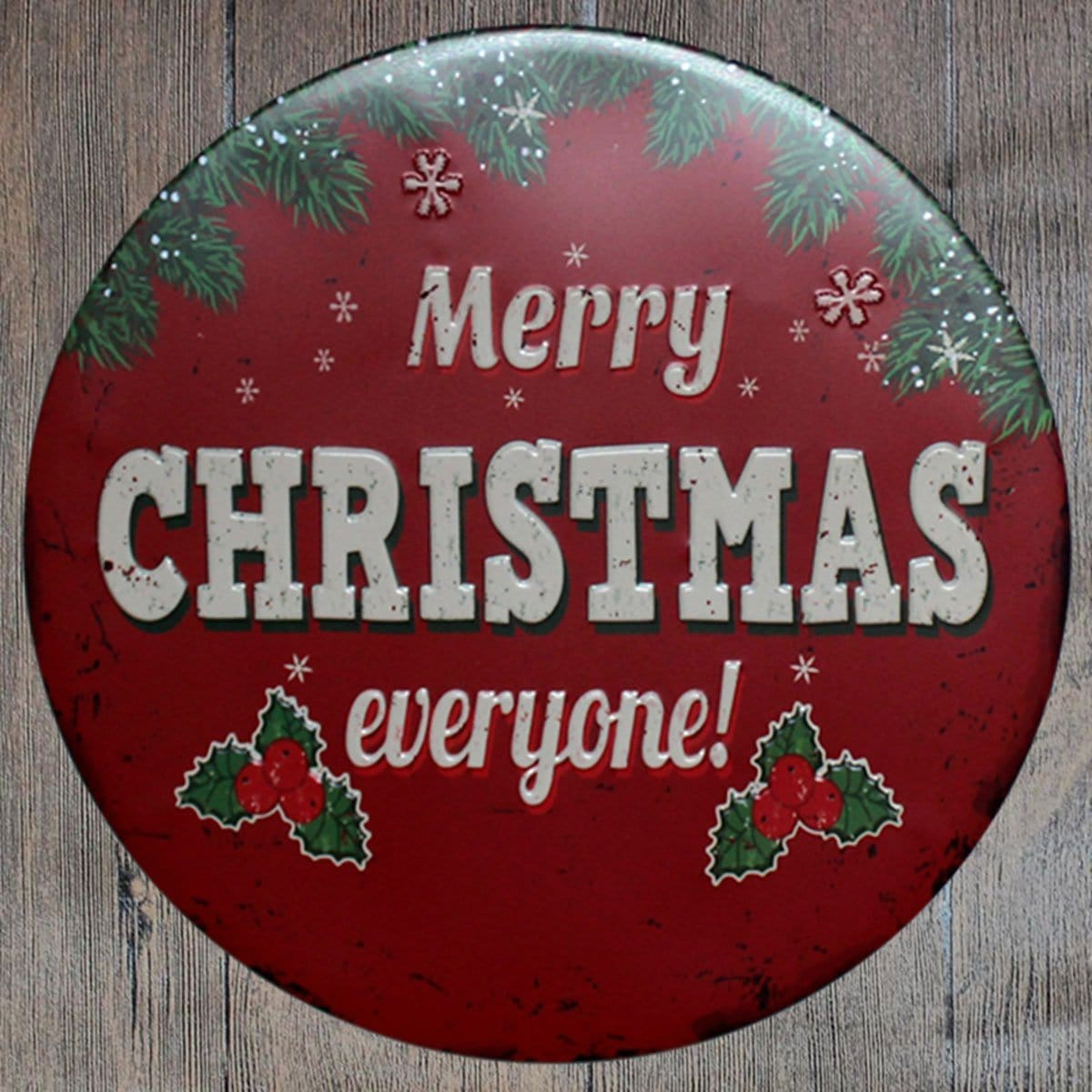 Merry Christmas Everyone Round Embossed Metal Tin Sign Poster