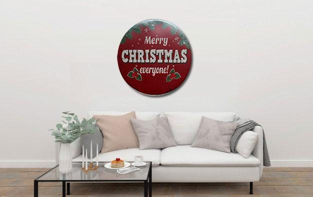 Merry Christmas Everyone Round Metal Tin Sign Poster
