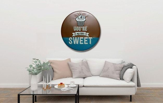 You are My Little Sweet Round Embossed Metal Tin Sign Poster