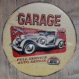 Garage Full Service Auto Repair Round Metal Tin Sign Poster