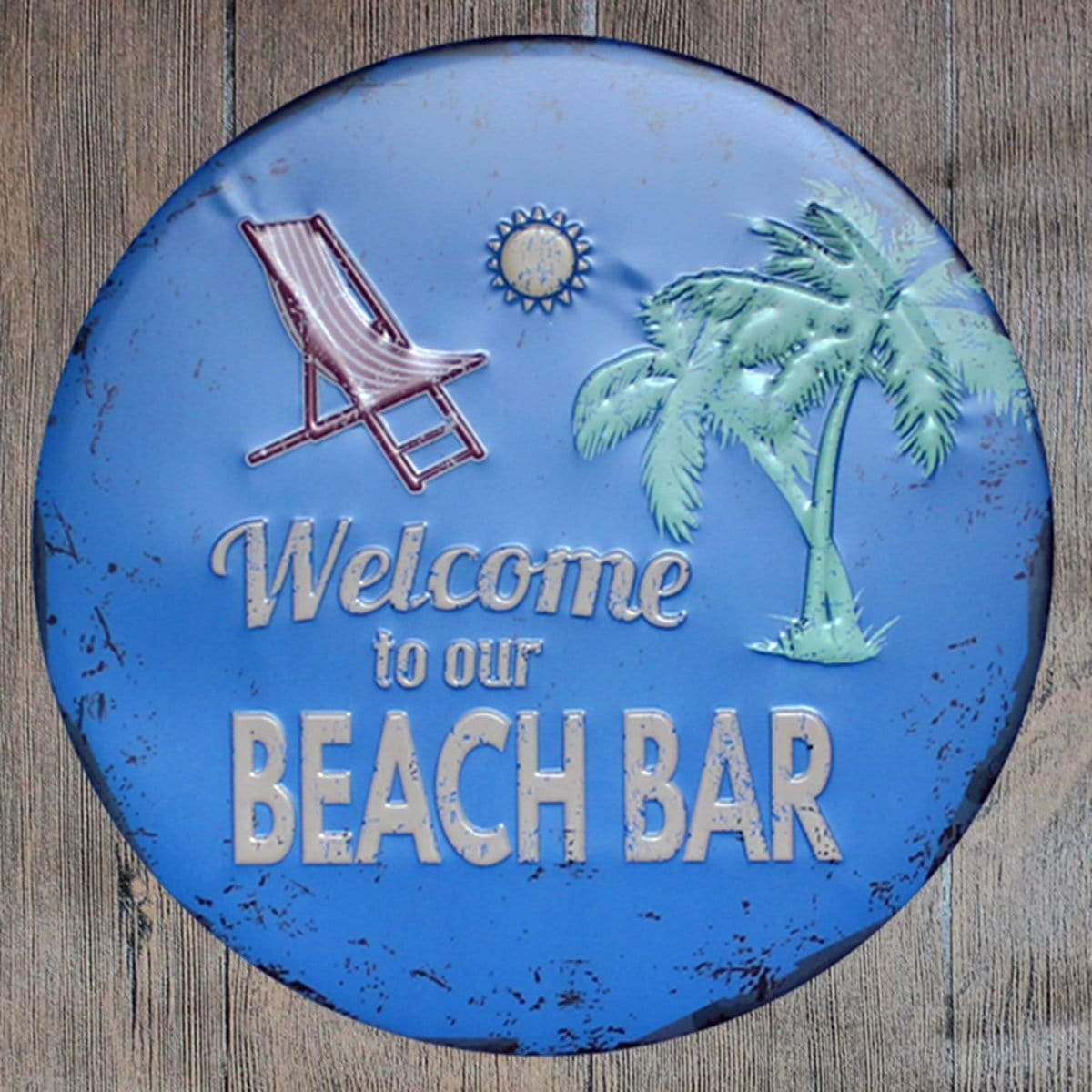 Welcome To Our Beach Bar Round Embossed Metal Tin Sign Poster