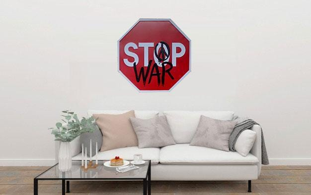 Stop War Octagon Metal Tin Sign Poster