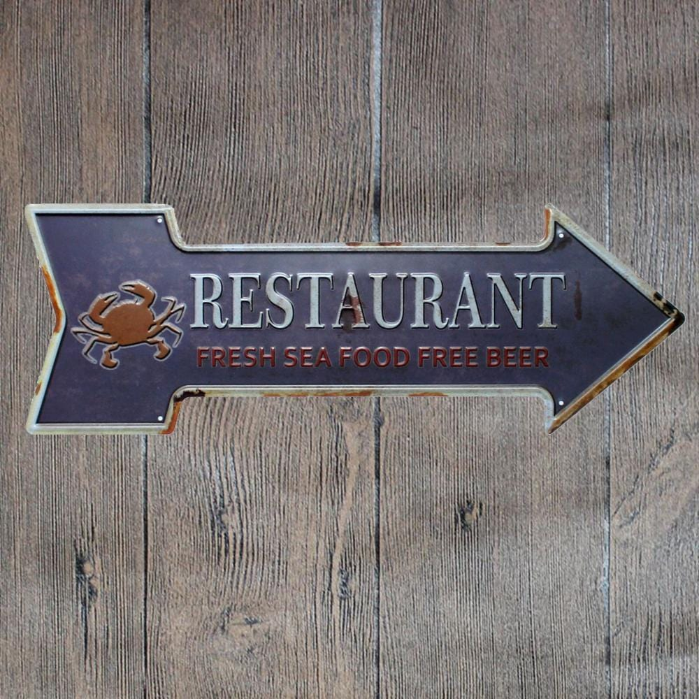 Restaurant Arrow Metal Tin Sign Poster