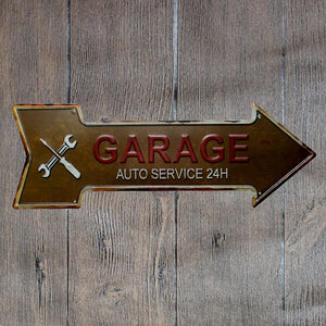 Garage Arrow Metal Tin Sign Poster