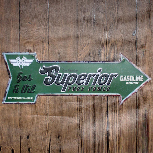 Superior Gasoline Arrow Metal Tin Sign Poster