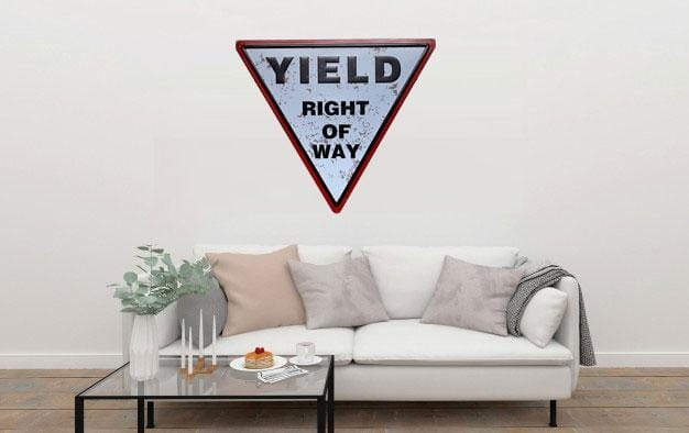 Yield Right Of Way Triangle Metal Tin Sign Poster