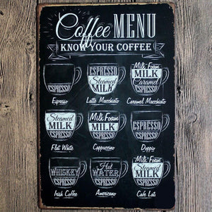 Coffee Menu Tin sign Wall Poster