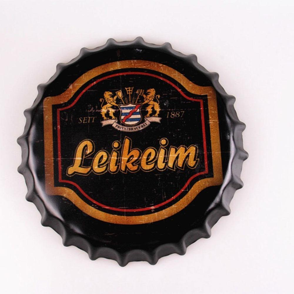 Leikeim Beer Cap Metal Tin Sign Poster