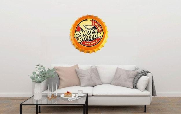 Sandy Bottom, Round Embossed Beer Bottle Cap  Metal Tin Sign Poster
