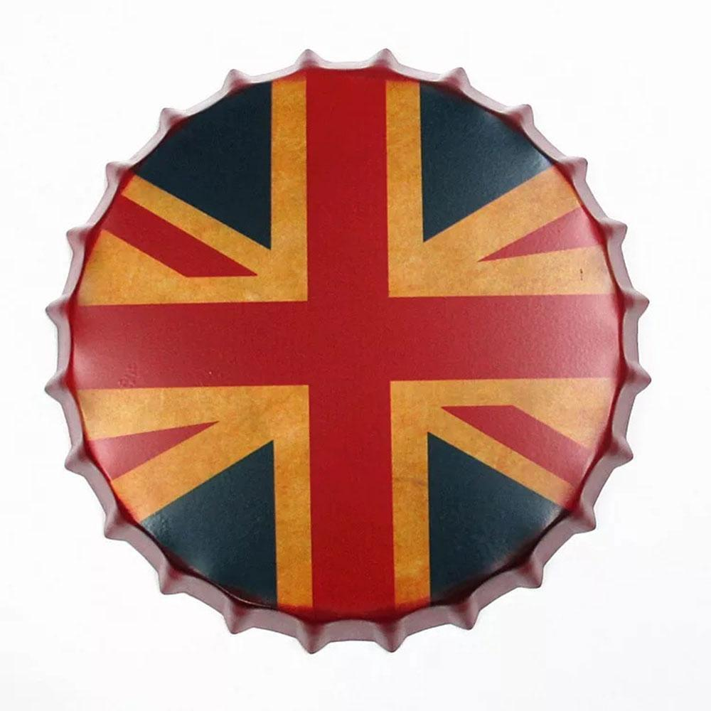 Uk Flag Print Beer Cap Metal Tin Sign Poster