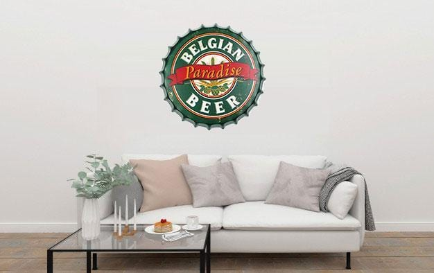 Belgian Paradise Beer Cap Metal Tin Sign Poster