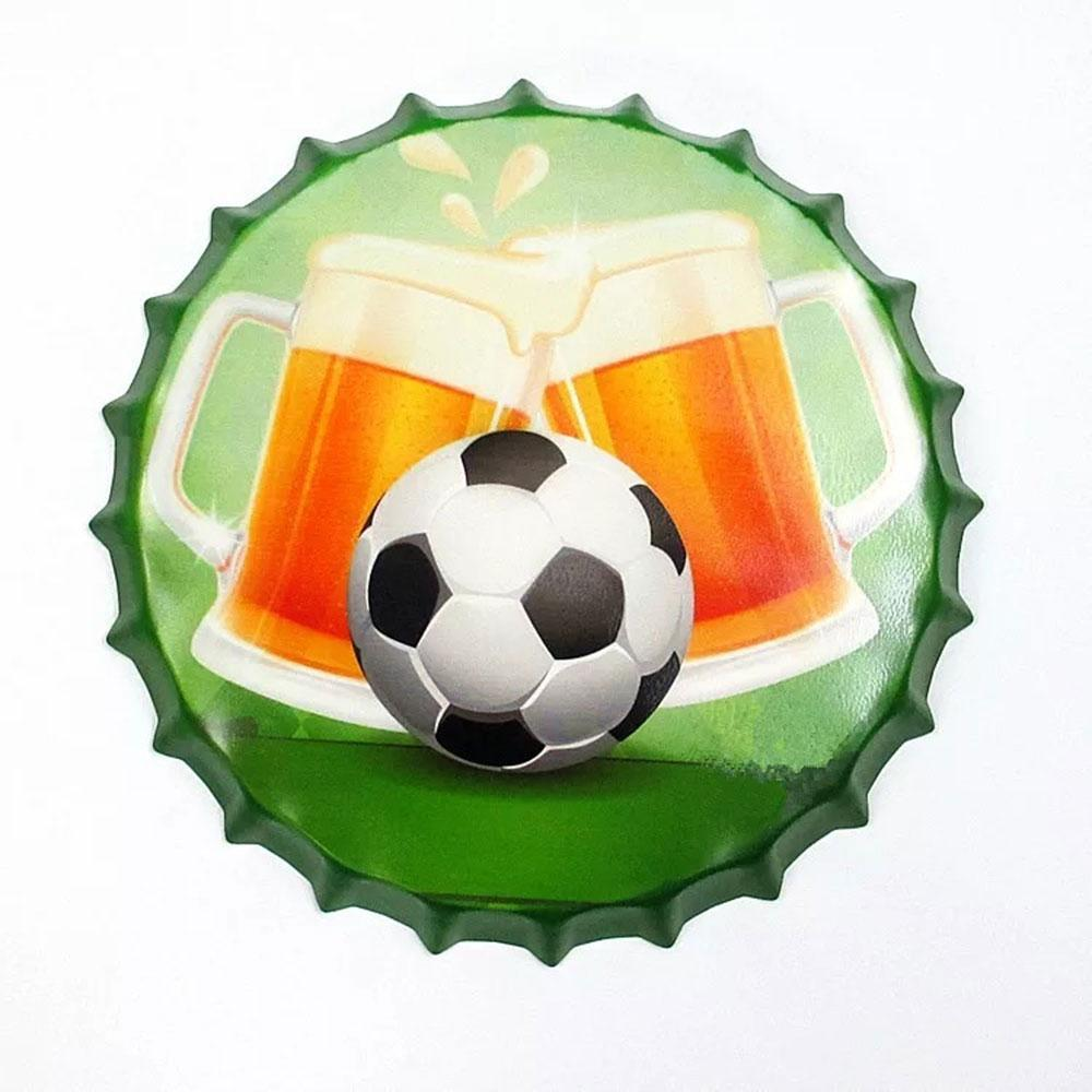 Beer Glass Football Cap Metal Tin Sign Poster