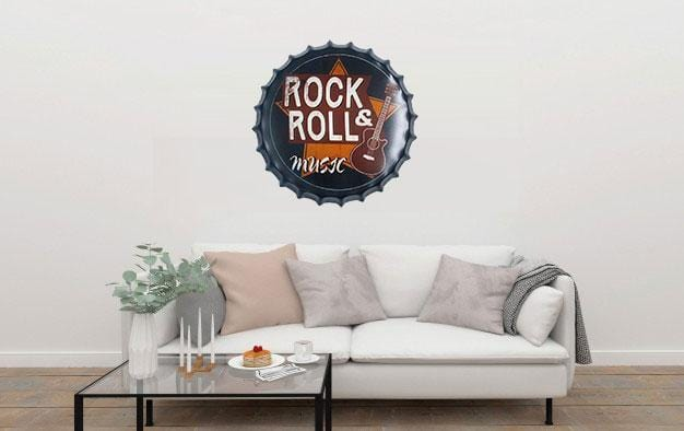 Rock & Roll Music Beer Cap Metal Tin Sign Poster