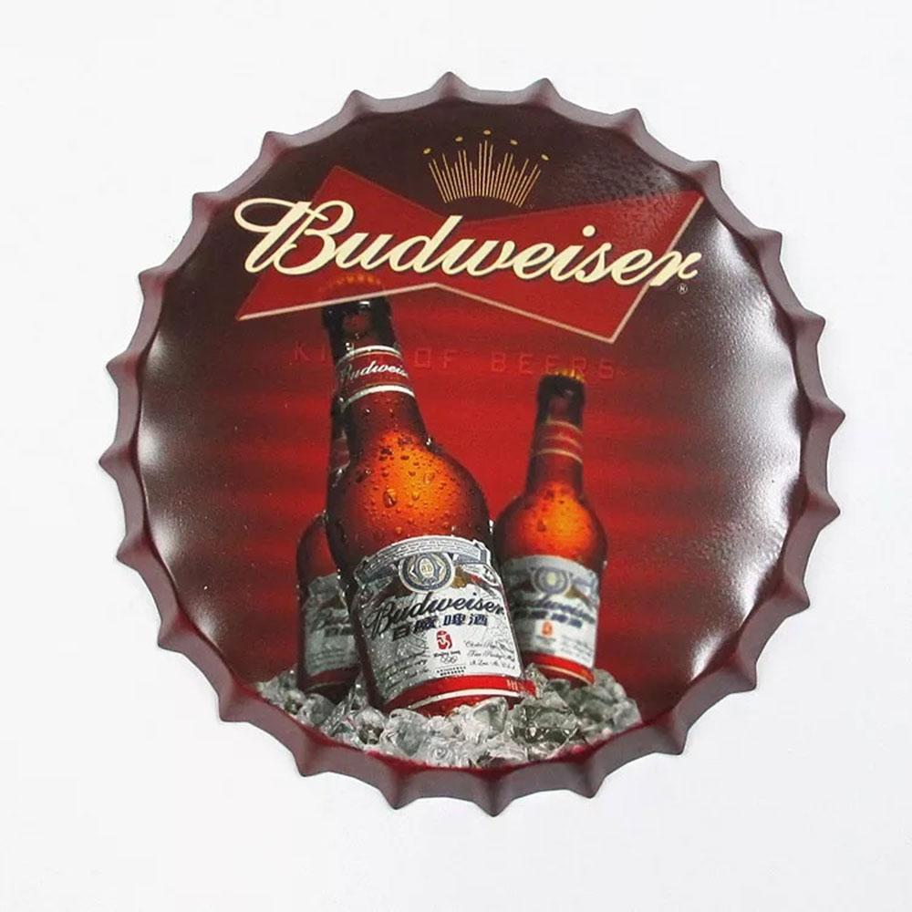 Budweiser Beer Cap Metal Tin Sign Poster