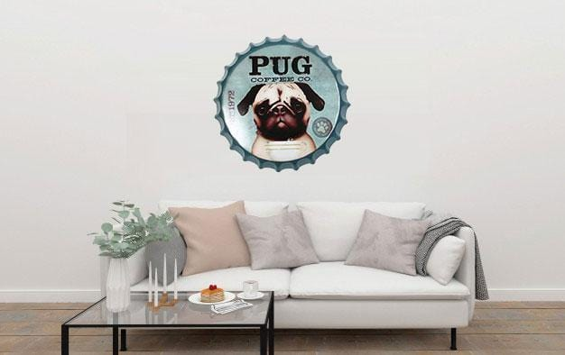 Pug Coffee Co Beer Cap Metal Tin Sign Poster
